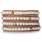 Popular Style Multi Strands Round White Acrylic Pearl Beads Bracelet with Brown Leather