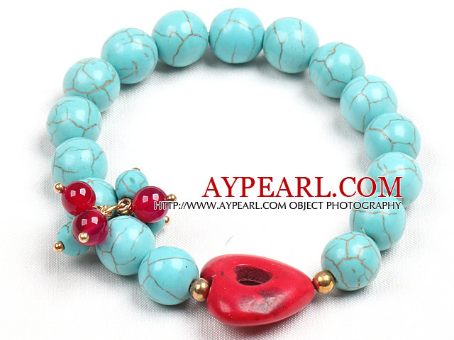 Simple Style Single Strand Blue Turquoise Beads (Heart Charm Color is not fixed)
