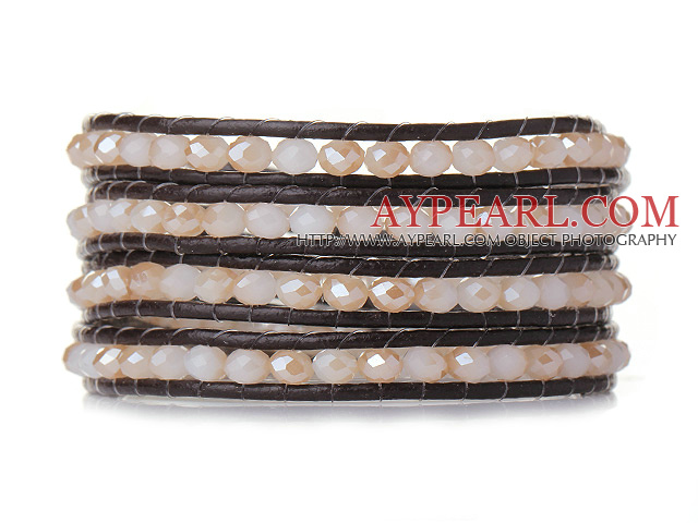 Popular Style Multi Strands Pink Jade-Like Crystal Beads Bracelet with Dark Brown Leather