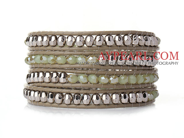 Popular Style Multi Strands Green Jade-Like Crystal Beads Bracelet with Leather