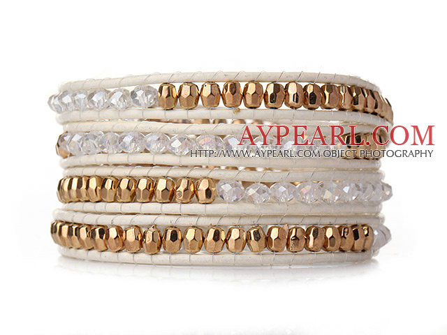 Popular Style Multi Strands White and Golden Manmade Crystal Beads Bracelet with White Leather