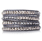 Popular Style Multi Strands Silver and Grey Manmade Crystal Beads Bracelet with Grey Leather
