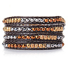 Popular Style Multi Strands Multi Color Manmade Crystal Beads Bracelet with Dark Brown Leather