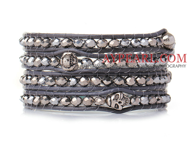 Popular Style Multi Strands Grey Manmade Crystal Beads Bracelet with Grey Leather and Skull Charm