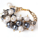Pretty Cluster Style Round White and Black Acrylic Pearl Beads Bracelet with Charm