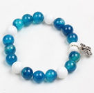 Classic Design Blue Agate And White Porcelian Beads Elastic/ Stretch Braceelt With Tibet Silver Butterfly Charm
