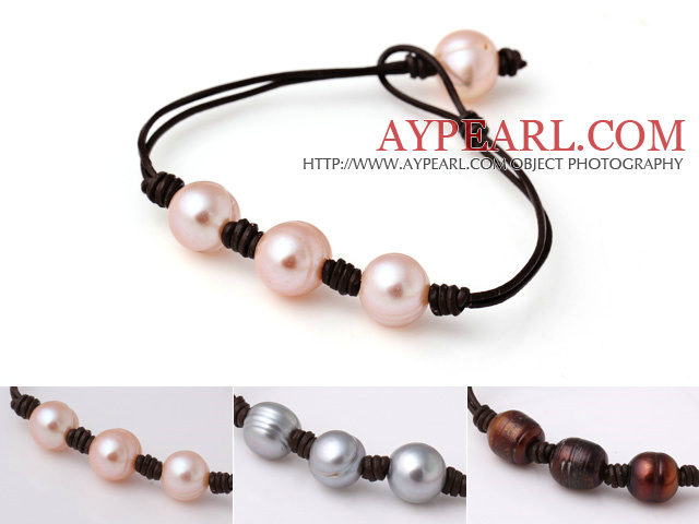 3 pcs Trendy Simple Style Single Strand Pink Grey and Brown Freshwater Pearl Leather Bracelet