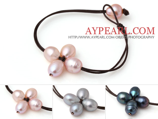 3 pcs Trendy Design Single Strand Pink Grey and Black Freshwater Pearl Flower Leather Bracelet