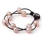 Trendy Lovely Design 2 Strands Pink Freshwater Pearl Bracelet with Dark Brown Leather