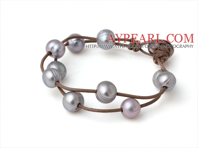 Trendy Lovely Design 2 Strands Grey Freshwater Pearl Bracelet with Brown Leather