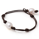 Trendy Simple Style Single Strand White Freshwater Pearl Leather Bracelet