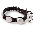 Newly Beautiful Single Strand White Button Pearl and Dark Brown Hand-knitted Leather Bracelet