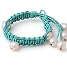 Newly Beautiful Single Strand White Freshwater Pearl Blue Hand-knitted Leather Bracelet