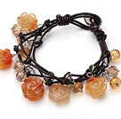 Vintage Style Flash Pink Flower Shape Crystallized Agate Charm Bracelet With Brown Leather