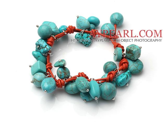 Summer Fashion Turquoise Charm Bracelet With Orange Leather