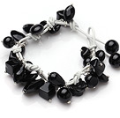 Summer Fashion Black Agate Charm Bracelet With White Leather