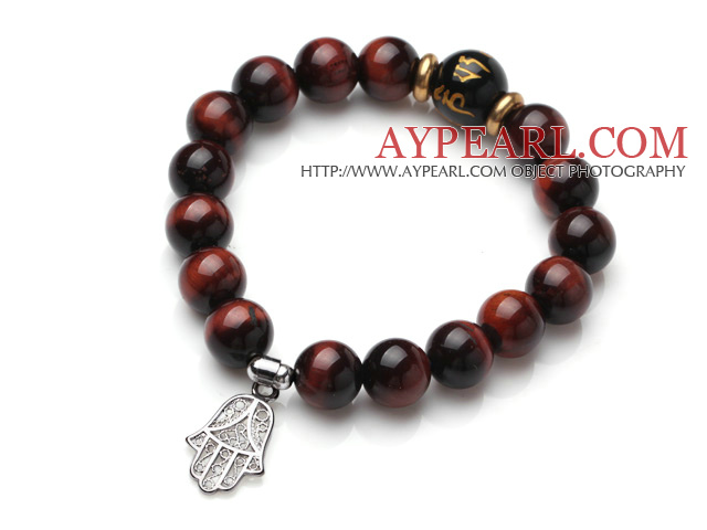 Classic Design Red Tiger Eye Stone Elastic Bracelet With Hollow Out Hand Shape Charm