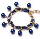 Wholesale Blue Girasol Pearl Charm Bracelet With Lobster Clasp (MOQ 100 PCS)