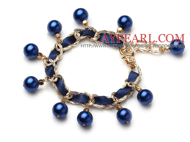 Blue Girasol Pearl Charm Bracelet With Lobster Clasp (MOQ 100 PCS)