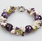 Gorgeous Summer Cluster Shape Natural White Pearl Amethyst And Olivine Bracelet With Moonlight Clasp