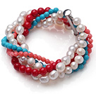 Amazing Multi Strand Twisted Natural White Pearl Red Coral Blue Turquoise Beads Bracelet