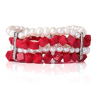 Utrolig Multi Layer Natural White Pearl Cube Shape Red Coral Bangle Bracelet