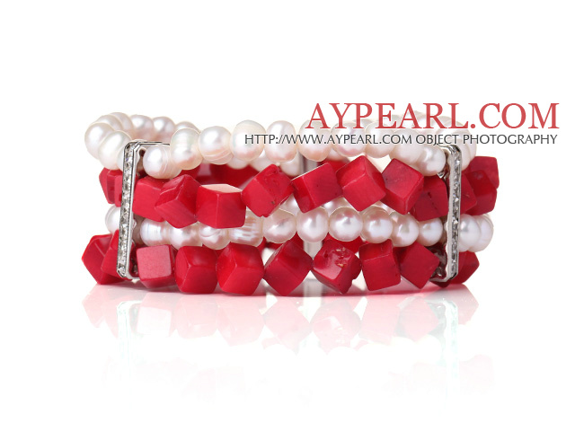 Amazing Multi Layer Natural White Pearl Cube Shape Red Coral Bangle Bracelet