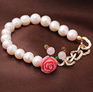 Elegant Natural Freshwater Pearl Elastic Bracelet With Rose Quartz and Acrylic Flower Charm