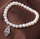 6-7mm Natural Freshwater Pearl Elastic Bracelet With Hollow Out Hand Shape Charm