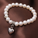 8-9mm Natural Freshwater Pearl Elastic Bracelet With Heart Shape Charm