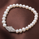 6-7mm Natural Freshwater Pearl Elastic Bracelet With Rhombus Shape Charm