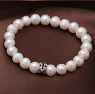 8-9mm Natural Freshwater Pearl Elastic Bracelet With Flower Shape Charm
