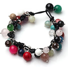 Summer Fashion Multi Color Multi Stone Beads Black Leather Bracelet