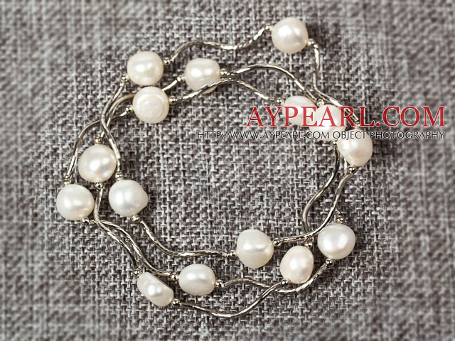 Three Pieces Potato Pearl Stretch Bracelet ( Sold by 3 Pieces )
