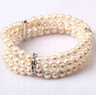 Three Layer 5-6mm Natual White Freshwater Pearl Stretch Bangle Bracelet