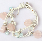 Wholesale Rose Quartz Carved Flower and Crystal Leather Bracelet with Metal Clasp