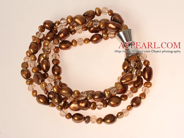 Multi Strands Coffee Brown Series Freshwater Pearl Crystal Bracelet with Magnetic Clasp