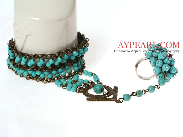 Vintage Style Turquoise Bracelet and Ring ( Adjustable Bracelet )