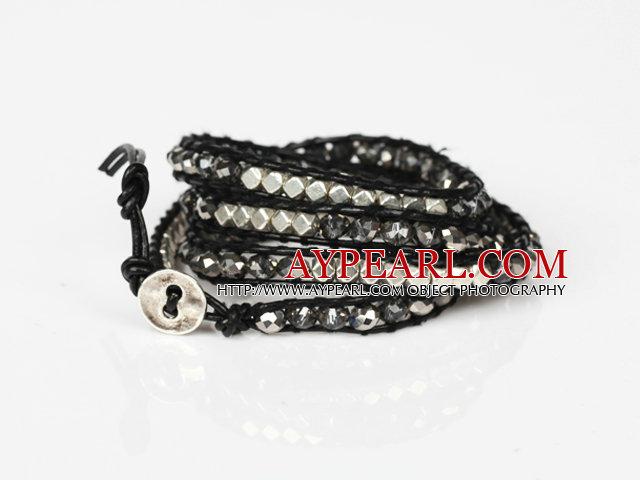 Fashion Style Wrap Bangle Bracelet Dark Gray Crystal and Nickle Free Metal Beads Wrapped Bracelet