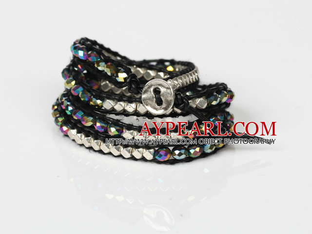 Fashion Style Wrap Bangle Bracelet Black Crystal and Nickle Free Metal Beads Wrapped Bracelet