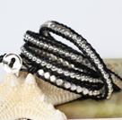Fashion Style Wrap Bangle Bracelet Crystal and Nickle Free Metal Beads Wrapped Bracelet