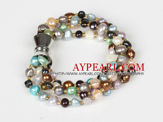 Multi Strands 3-4mm Multi Color Freshwate Pearl Bracelet with Magnetic Clasp