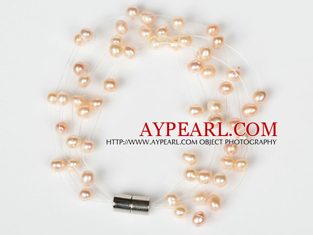 3-4mm Natural Pink Freshwater Pearl Bridal Bracelet with Magnetic Clasp