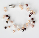 3-4mm Natural Mixed Color Freshwater Pearl Bridal Bracelet with Magnetic Clasp