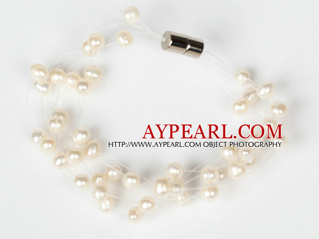 3-4mm Natural White Freshwater Pearl Bridal Bracelet with Magnetic Clasp