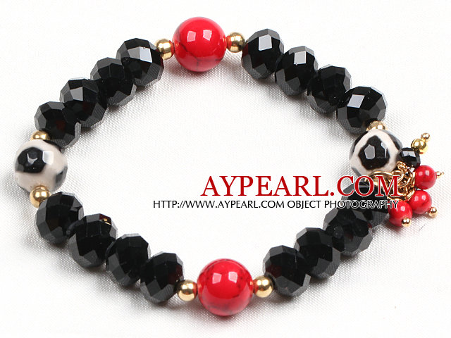Simple Black Crystal Hand-Painted Agate Red Blood Stone Beads Stretch / Elastic Bracelet