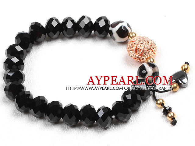 Simple Hand-Painted Agate Black Crystal Beads Stretch / Elastic Bracelet With Golden Rose Color Hollow Charm
