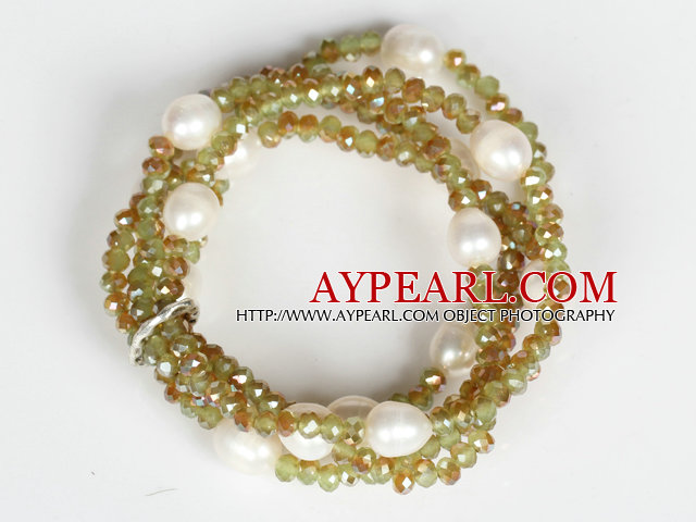 White Crystal and Jade Crystal Stretch Bangle Bracelet