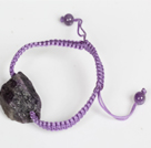 Wholesale Amethyst Raw Stone Weaving Bracelet with Adjustable Thread