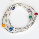 925 Silver Beads and Multi Stone Four Times Wrap Bangle Bracelet